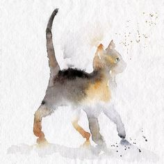 Ginger and grey kitten in watercolour. High quality reproductions of my…