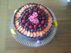 cake with blueberries and Strawberries