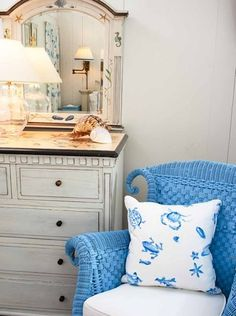 Blue Wicker Chair Beach Cottage Bedroom