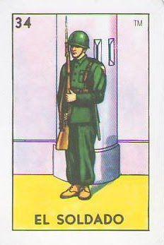 loteria, mexican, soldier, el soldado