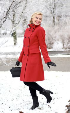 Winter outfit #red #coat #winter #outfit #blonhair #fashion #blogger #slovakia #girl
