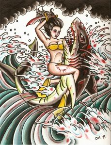 i really want a tattoo of a woman riding a shark!