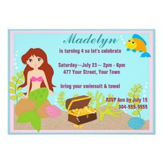 Cute Mermaid Pool Party Personalized Announcements