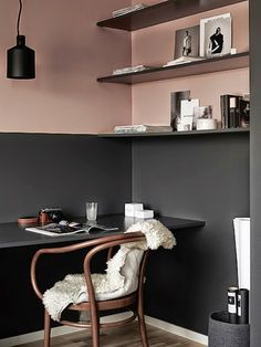 Modern Scandinavian Home Office Interior with Grey and Pink Walls Interior, Interior Inspiration, Workspace Inspiration, Half Painted Walls, Scandinavian Home, Luxury Decor, Home Decor, House Interior, Interior Design