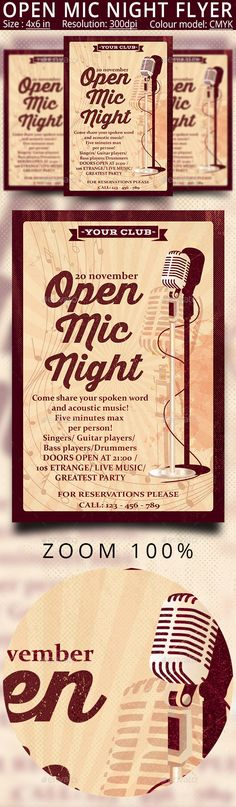 Open Mic Night Karaoke #Party #Flyer - Clubs & Parties #Events Download here:   https://graphicriver.net/item/open-mic-night-karaoke-party-flyer/20133958?ref=alena994
