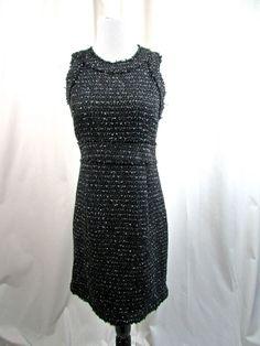 Michael Kors Fringed Tweed Black White Sheath Dress Career Size 8 Excellent #MichaelKors #Sheath #WeartoWork
