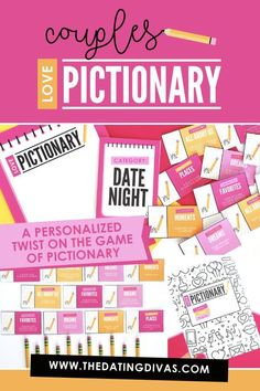 VALENTINE'S DAY DATE NIGHT IDEA- A fun Couples Love-Themed Pictionary game with a personalized twist in which couples are given prompts for what to draw rather than a specific item. Perfect for a date night at home. Especially for Valentine's Day