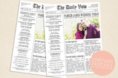 Printable Newspaper Inspired Wedding Program Design on Etsy, $20.00 Pretty cool