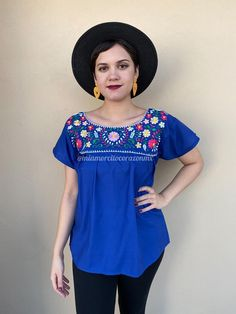 Gorgeous traditional Mexican shirt , machine-embroidered Fabric: Cotton Fits size S-M Loose fit Measurements taken flat: Armpit to armpit 20 Bottom hem width 24 Shoulder to Bottom hem 26 Mexican Skirts, Mexican Blouse, Mexican Outfit, Mexican Style, Bohemian Fashion, Bohemian Style, Women's Fashion, Fashion Outfits, Traditional Mexican Shirts
