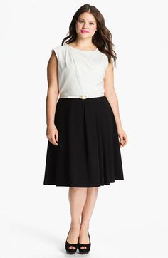 Calvin Klein Belted A-Line Dress (Plus) available at #Nordstrom