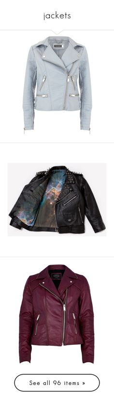 """""""jackets"""" by kris-mathers ❤ liked on Polyvore featuring outerwear, jackets, coats, leather jackets, tops, blue, clearance, blue biker jacket, blue faux leather jacket and vegan leather jacket"""