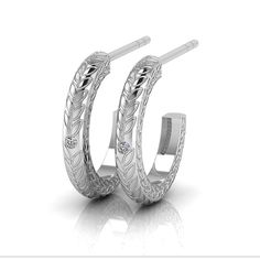 [WHY HER] Hoop Collection - Silver Engraved Diamond Hoop Earrings by WHYJewellery Diamond Hoop Earrings, Silver Diamonds, Pretty Woman, Wedding Rings, Engagement Rings, Collection, Jewelry, Rings For Engagement, Jewellery Making