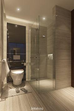 PIK. Ebony Cluster. North Jakarta. Indonesia. #interior #design #interiordesign #bathroomdesign #modernbathroom #bathtube #largebathroom #contemporarybathroom #jettaliving #jakarta #indonesia Large Bathrooms, Dream Bathrooms, Modern Bathroom, Master Bathroom, Bathroom Ideas, Modern Saunas, Bath Tube, Shower Enclosure, Showers