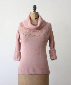 1970's rose blush eyelet sweater