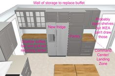 Surrounding the Fridge – Plaster & Disaster Open Shelving, Shelves, Blue Kitchen Cabinets, Built In Refrigerator, Plaster, Kitchen Remodel, Locker Storage, Kitchen Design, Ikea