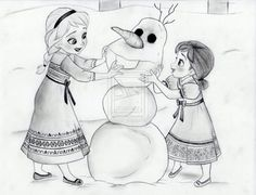 Elsa and Anna make Olaf by julesrizz on deviantART