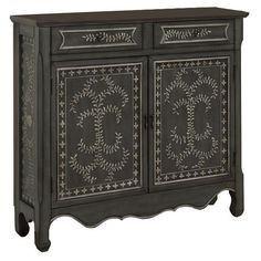 2-drawer and 2-door cupboard with hand-painted scrolling vine detail and a scalloped apron.  Product: CupboardConstr...
