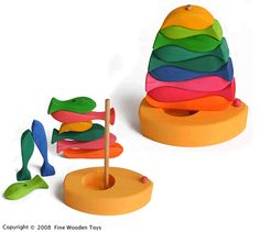 Stacking Fish Sailboat, wooden toy and puzzle