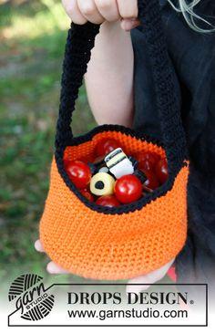 """Free pattern: Crochet DROPS basket for Halloween in """"Paris""""."""