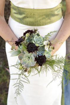 The Cutting Garden - succulents and scabiosa. Unique take on the wedding bouquet!