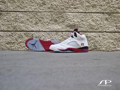 sports shoes 9c7e9 45254 The Jordan 5 Retro in White Fire Red Black aka