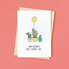 All the spring babies. All the plant ladies. Succulent pun birthday card.