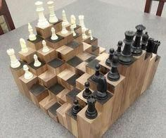 A multiple level chess board. Made of walnut, each block is at a different height to add a fun and artistic factor to the classic game of chess. With a proper workshop and a few pieces of walnut lumber, you can build your own chess board in less tha Woodworking For Kids, Woodworking Plans, Woodworking Furniture, Wood Furniture, Popular Woodworking, Woodworking Workshop, Woodworking Articles, Woodworking Apron, Woodworking Shop