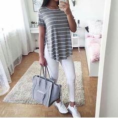 Pretty outfit (white shoes and jeans and gray tee)