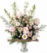 An explosion of pink and white comes from the roses, asters, snapdragons and greens in this beautiful arrangement that arrives in a glass vase.   You can send your inquiry:  Email us: info@regalomanila.com Contact us: +63-02-414-4444 Website: Regalo Manila http://regalomanila.com Facebook: Regalomanila.com fan page