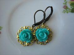 Mini Rose Flower Raw Brass Filigree Leverback Earrings by ZARDENIA, $9.00