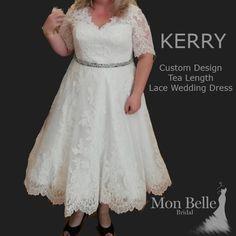 KERRY tea length wedding dress with sleeves - Mon Belle Bridal