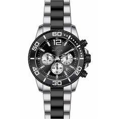 Invicta 17401 Men's Pro Diver Black Dial Two Tone Bracelet Chronograph Watch,