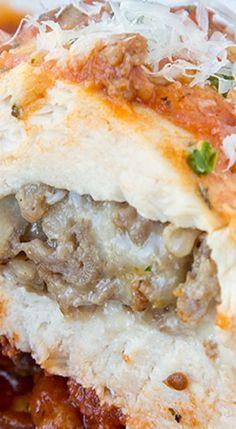 Italian Sausage Stuffed Bake Chicken Breasts.