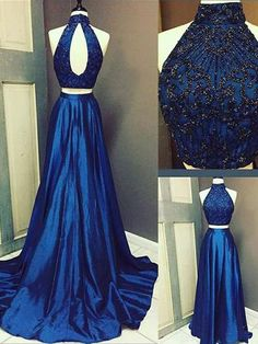 TWO PIECES A-LINE HIGH NECK PROM DRESS ROYAL BLUE BEADING SATIN CHIC EVENING DRESS AM700 #amyprom  #fashion #party #evening #chic #promdress #promdresslong #longpromdress #eveningdress  #royalblue