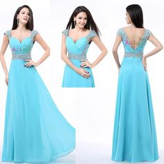 Turquoise Women's Chiffon Long Formal Prom Dress Party Bridesmaid Evening Gown #FormalWeddingParty