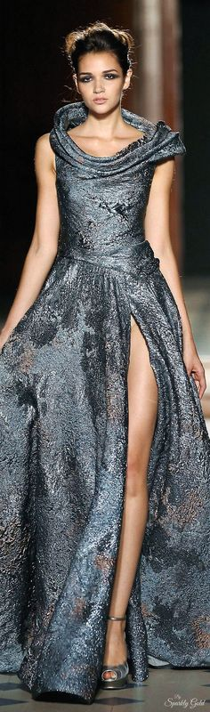 Tony Ward ~ Silvery Grey Metallic Gown w Dropped Cowl Neckline + Deep Side Slit 2015