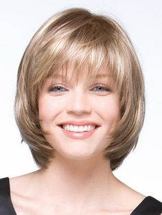 Softly layered bob, front view ~ voguewigs.com.  Suitable for oval, round, diamond, heart and oblong face shapes.