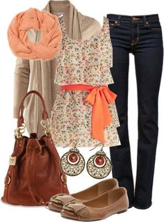 Coral & Tan Winter/Fall Outfit <3