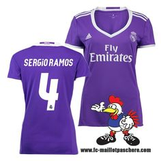 Nouveau Maillots FC Real Madrid Femme (SERGIO RAMOS 4) Exterieur 2016 2017 Beau