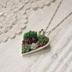 Woodland Belle Succulent Garden Necklance - heart shaped silver pendant. $64 on Etsy.