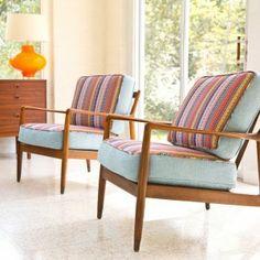 Cushions reupholstered in Robert Allen