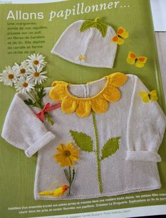 Allons papillonner, Marie Claire hors Serie no 4 Diy Crafts Knitting, Knitting For Kids, Hand Knitting, Baby Girl Patterns, Baby Knitting Patterns, Knit Baby Dress, Knitted Baby Clothes, Cardigan Bebe, Baby Outfits