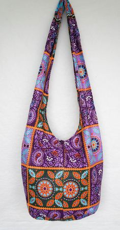 70878607af Items similar to YAAMSTORE purple patchwork graphic print pattern hobo bag  sling shoulder crossbody hippie boho purse on Etsy