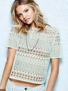 An open-weave tee for your open-air shows. A festival must-wear. // Victoria's Secret Crochet Tee