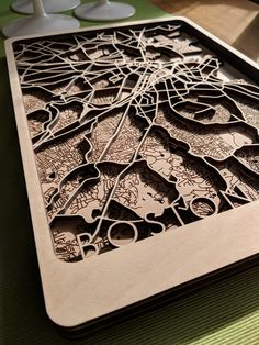One of the nicest things about these wood map designs is the depth of the road cut gives you really nice occlusions that change throughout the day.design map Overview Maps Custom Wood Maps Made For You Laser Art, Laser Cut Wood, Laser Cutting, Laser Cutter Ideas, Laser Cutter Projects, Form Design, Map Design, Custom Map, Custom Wood