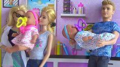 Барби,Кен, близнецы  Baby Doll и щенок!Барби доктор Прием у врача!(Учим ...