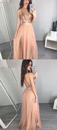 Sexy A-Line V-Neck Chiffon Long Prom/Evening Dress with Seuqins prom,prom dress,evening dress,2017 prom dress,sexy prom dress