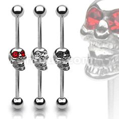 Industrial piercing barbell. Would be cool for a vertical conch to conch industrial! #piercing #jewelry #skulls