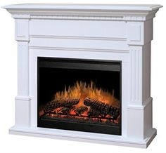 I like the firebox on this electric fireplace.Dimplex Sussex White Electric Fireplace Mantel Package - I want this one! Electric Fireplaces Direct, White Electric Fireplace, White Fireplace, Faux Fireplace, Fireplace Inserts, Fireplace Mantels, Fireplace Design, Fireplace Drawing, Country Fireplace