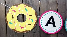 Donut Banner, Donut Birthday Banner, Donut Party Banner, Donut Garland, Photo Prop by CraftyCue on Etsy